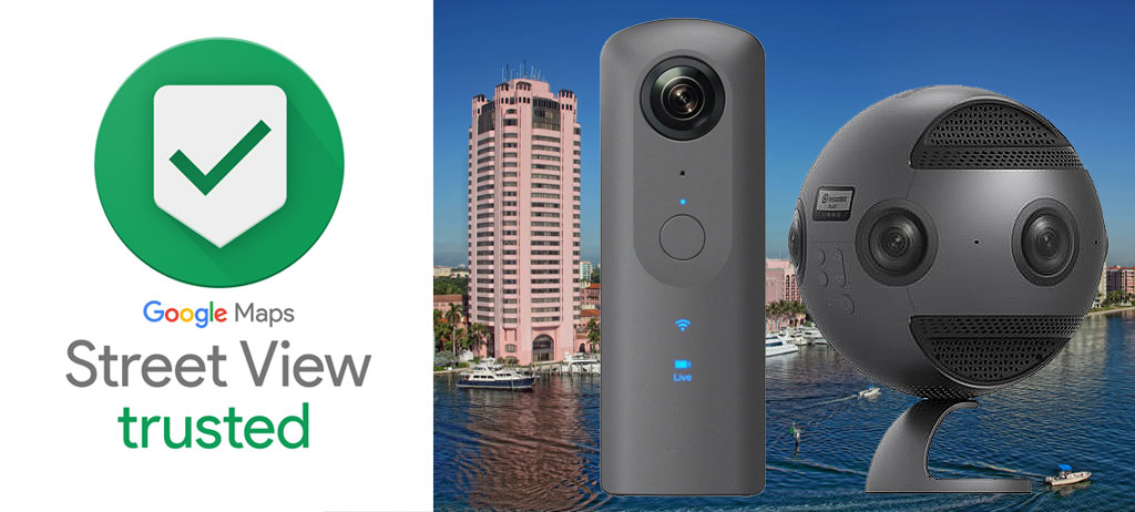 Google Street View trusted Logo , richo-theta-v-and-insta-360-pro-VR-cameras, virtual tour, 360 degree virtual tour photography , Google Trusted Photographer Logo