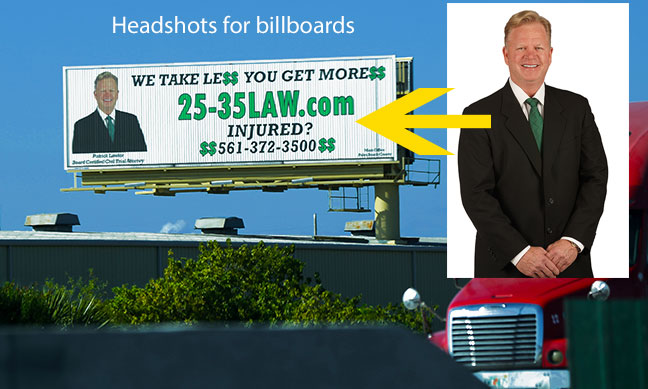 Our Work and Client List, headshots for billboard advertising