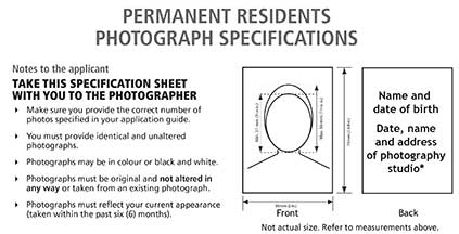 Canadian Permanent Resident Photo Specifications
